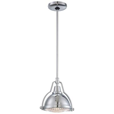 Karnes 1-Light Brushed Nickel Mini Pendant with Shade and Clear Ribbed Glass
