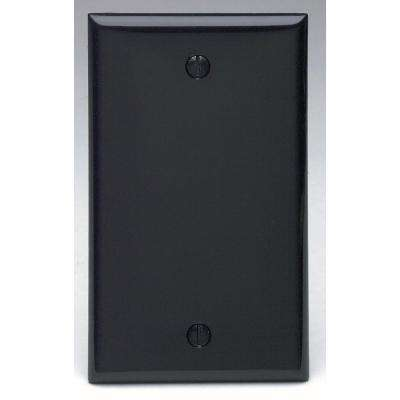 1-Gang No Device Blank Wallplate, Standard Size, Thermoplastic Nylon, Box Mount, Black
