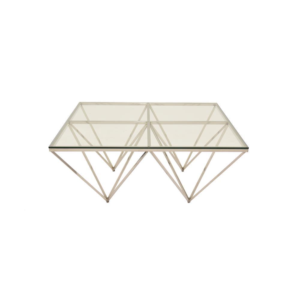 Silver Metal/Glass Coffee Table