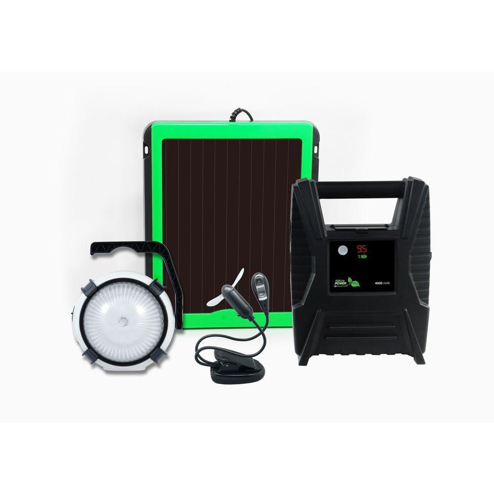 Nature Power PowerPak Deluxe Solar Power 3-Watt Charging Kit with Portable LED Light and Mini Fan/LED Reading Light