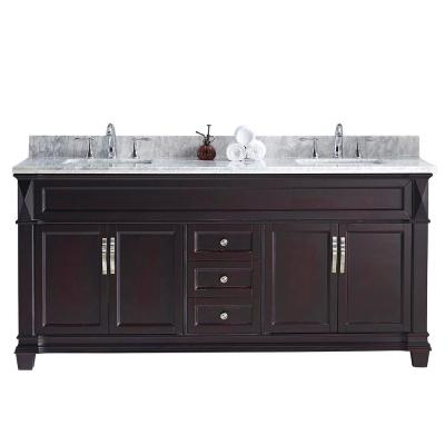Victoria 72 in. W Bath Vanity in Espresso with Marble Vanity Top in White with Square Basin