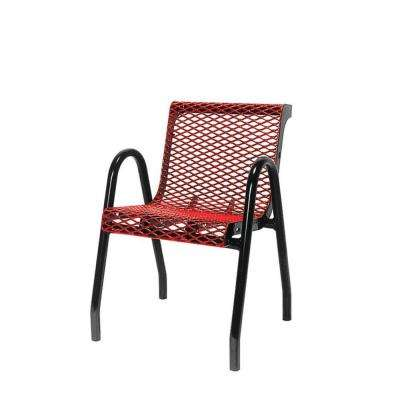 18 in. Diamond Red Portable Commercial Park Contour Food Court Chair