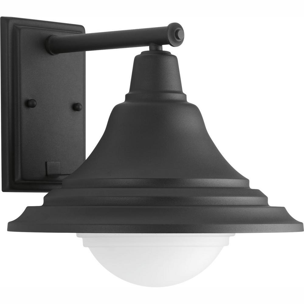 Progress Lighting Chandler Collection 1-Light Black 11.5 in. Outdoor Integrated LED Wall Lantern Sconce