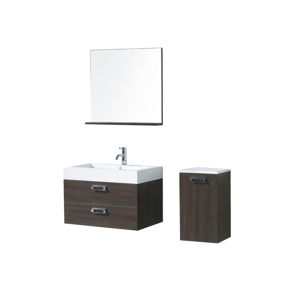 Virtu USA Oceanside 29-1/2 in. Single Basin Vanity in Alamo with Poly-Marble Vanity Top in White/Side Cabinet Mirror-DISCONTINUED