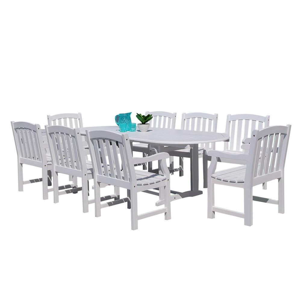 Vifah Bradley 9 Piece Wood Oval Extention Outdoor Dining Set