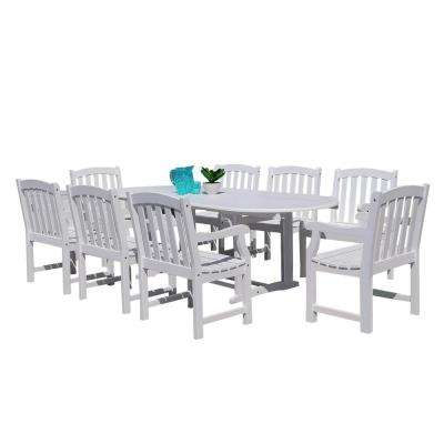 Bradley 9-Piece Wood Oval Extention Outdoor Dining Set