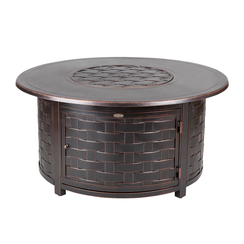 Fire Sense Perissa In Woven Cast Aluminum LPG Fire Pit - Cast aluminum gas fire pit table