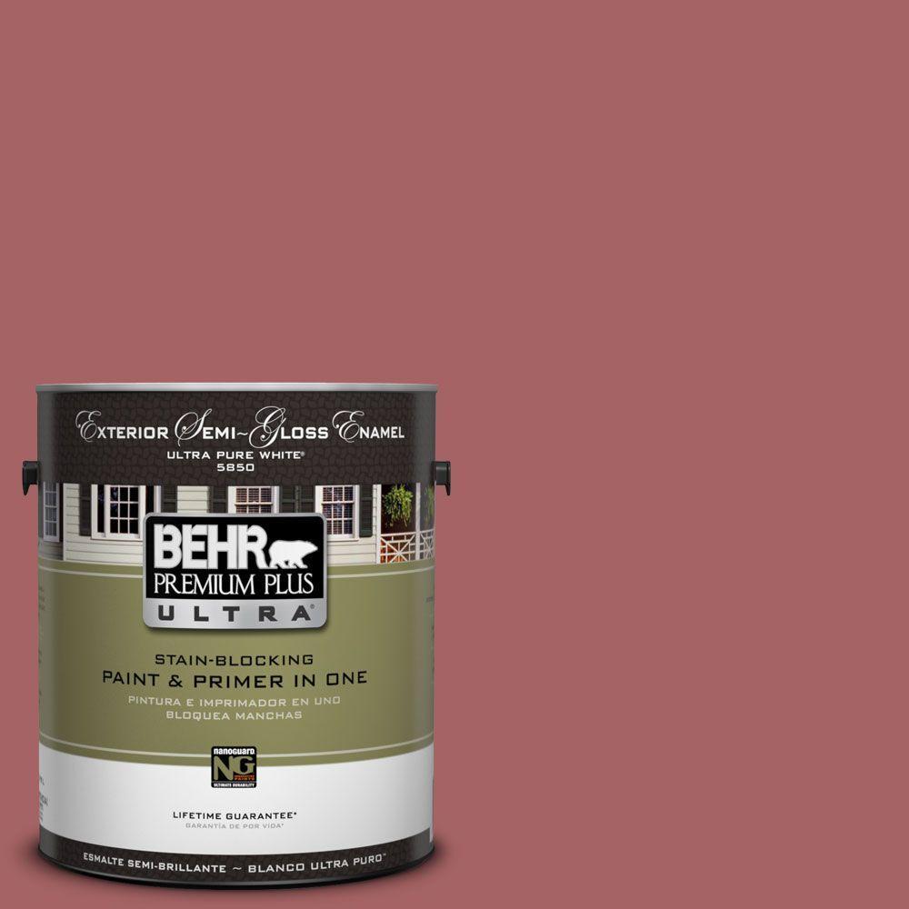 BEHR Premium Plus Ultra 1-Gal. #UL100-12 Rose Marquee Semi-Gloss Enamel Exterior Paint-DISCONTINUED