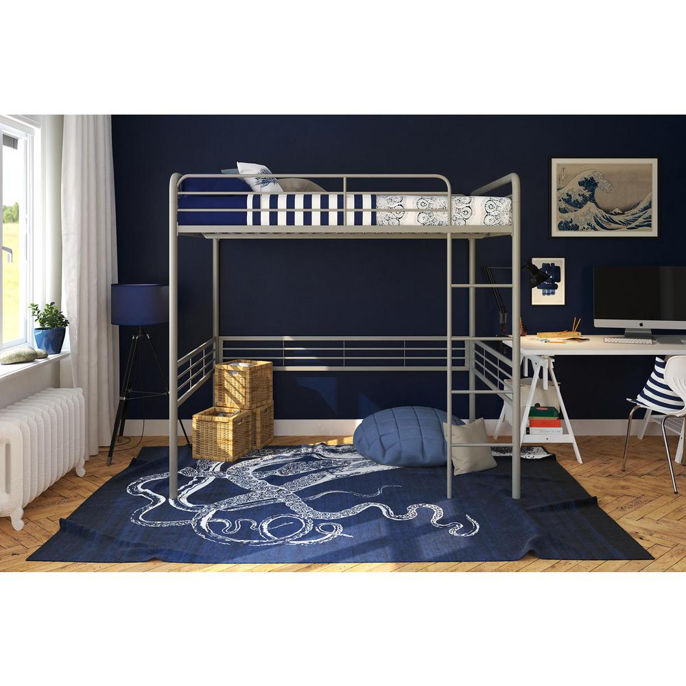 Dhp Silver Full Metal Loft Bed Silver Finish Amelia