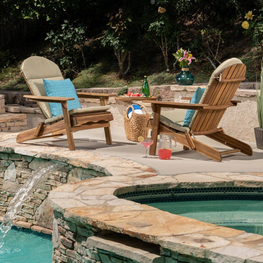Malibu Natural Brown Folding Wood Adirondack Chairs with Khaki Cushions (2-Pack)
