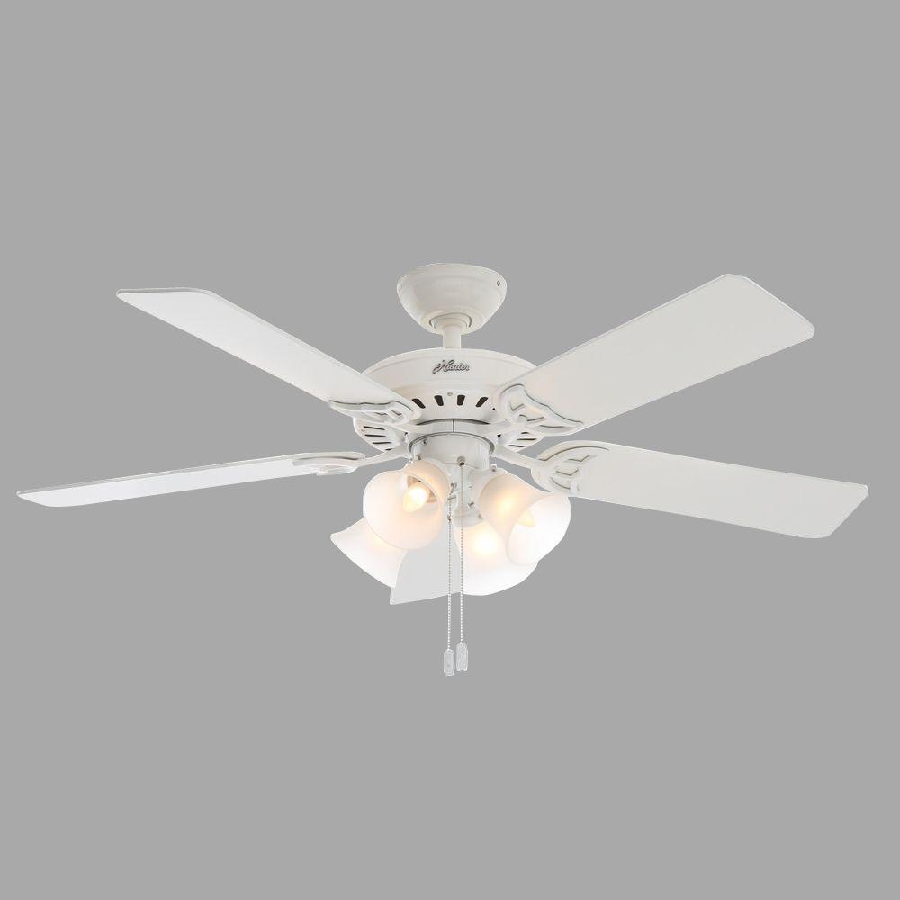 Indoor White Ceiling Fan With Light