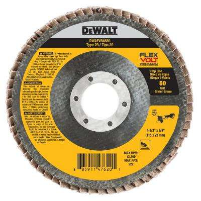 FLEXVOLT 4-1/2 in. x 7/8 in. 80 Grit Flap Disc Type 29
