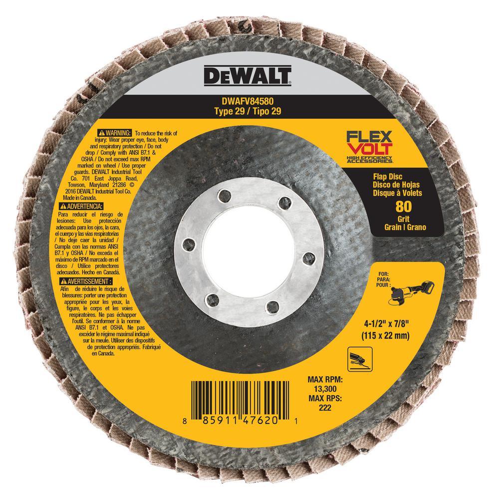 FLEXVOLT 4-1/2 in. x 7/8 in. 80 Grit Flap Disc Type 29