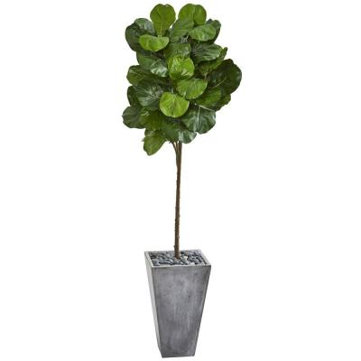 Indoor 75-In. Fiddle Leaf Artificial Tree in Cement Planter