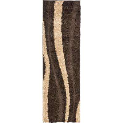 Florida Shag Dark Brown/Beige 2 ft. x 11 ft. Runner Rug