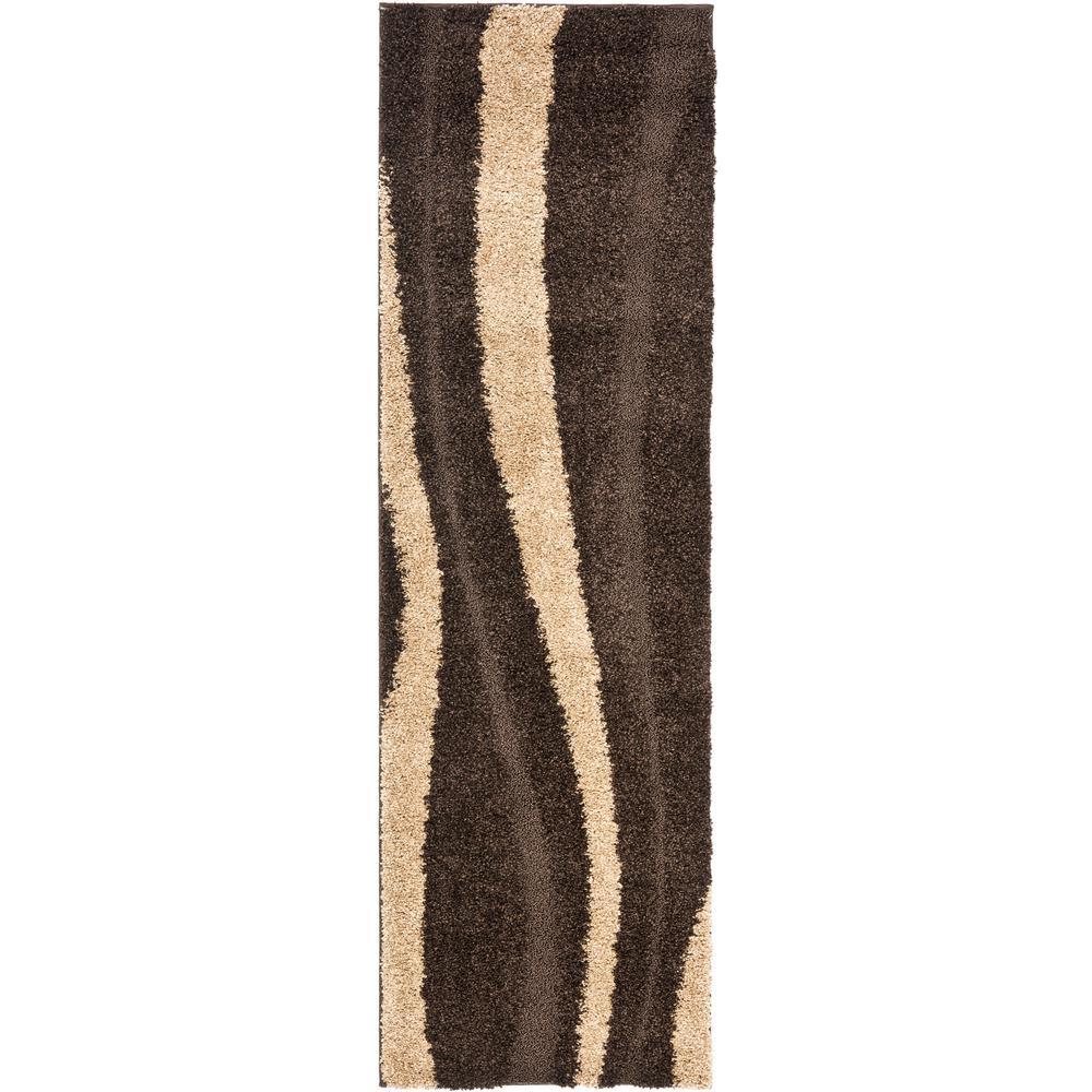 Florida Shag Dark Brown/Beige 2 ft. x 11 ft. Runner Rug