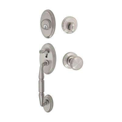 Solid Brass Brushed Nickel Weston Two-Piece Interior Handleset with Half-Round Knob
