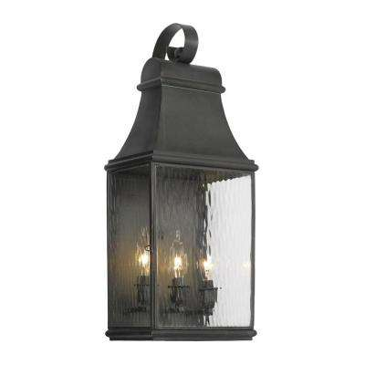 Jefferson 3 Light Wall Mount Outdoor Charcoal Sconce