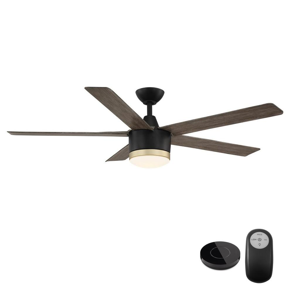 Home Decorators Collection Merwry 56 in. Integrated LED Matte Black Fan with Light Kit and Remote Control works with Google and Alexa