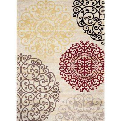 Contemporary Modern Floral Cream 3 ft. x 5 ft. Indoor Area Rug