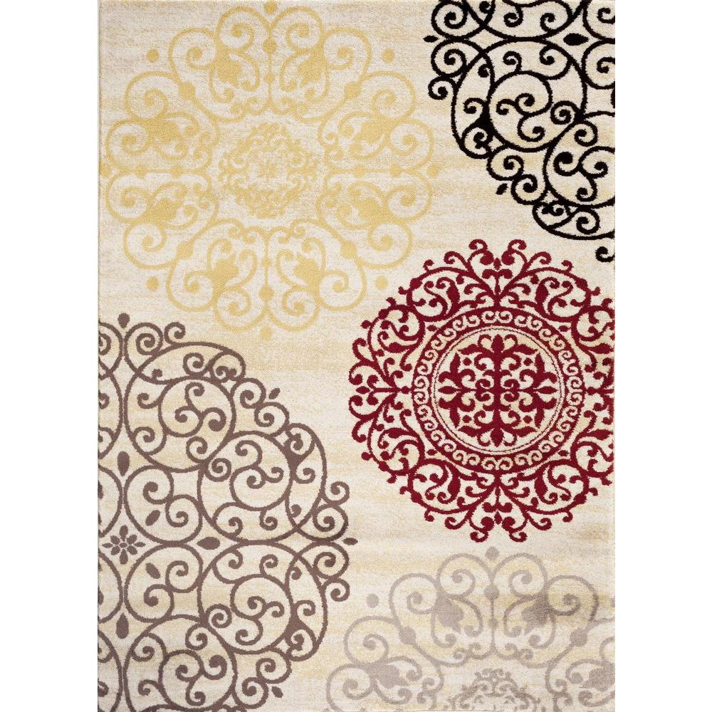 Contemporary Modern Floral Cream 7 ft. 10 in. x 10 ft.