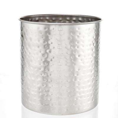 7-1/2 in. H x 7 in. Dia Jumbo Hammered Brushed Nickel Utensil Holder