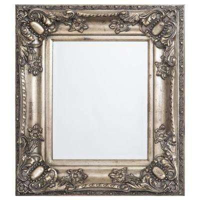 27 in. x 31 in. Rectangular Decorative Antique Wood Resin Framed Mirror