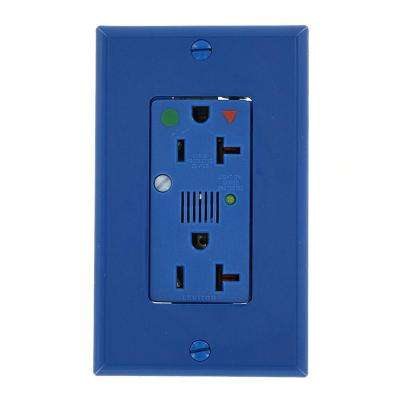 Decora Plus 20 Amp Hospital Grade Extra Heavy Duty Isolated Ground Duplex Surge Outlet with Audible Alarm, Blue
