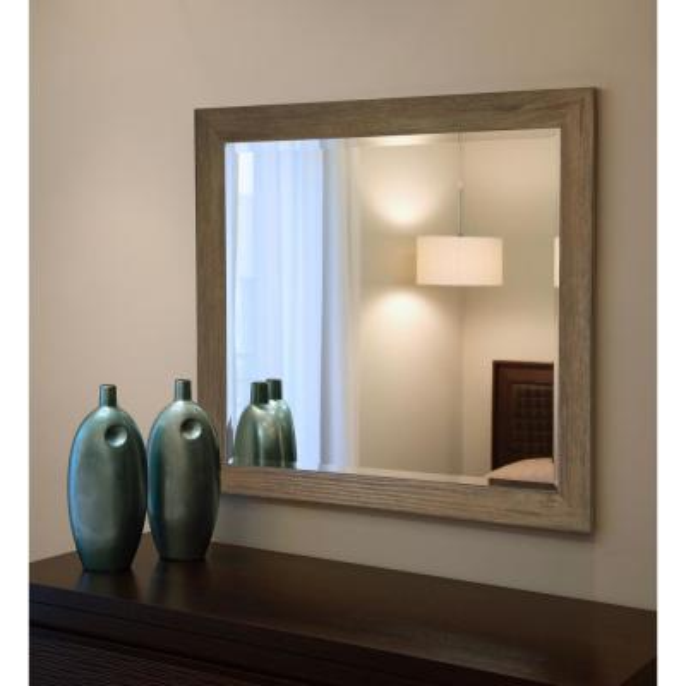 38.5 in. x 32.5 in. Brown Barnwood Beveled Vanity Wall Mirror