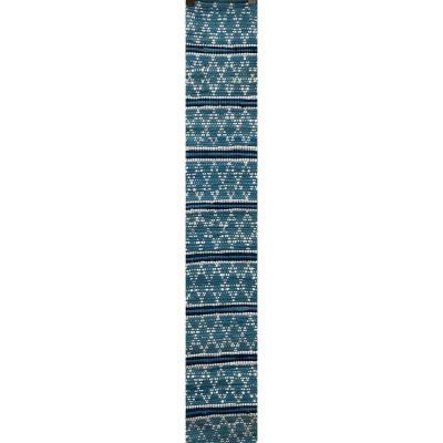 Skade 14 in.W x 72 in. D Blue and White Geometric Reversible Cotton Table Runner