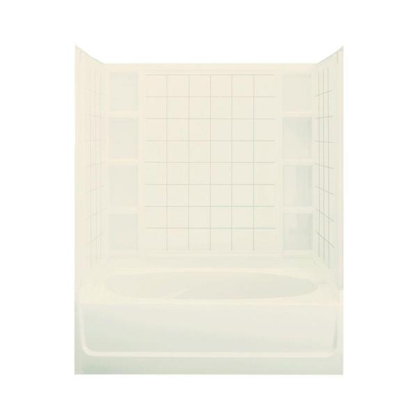 Ensemble 37-1/2 in. x 60 in. x 73-1/4 in. Bath and Shower Kit with Left-Hand Drain in Biscuit