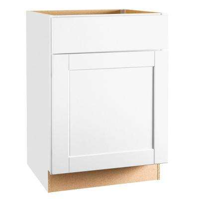 Shaker Assembled 24x34.5x24 in. Base Kitchen Cabinet with Ball-Bearing Drawer Glides in Satin White