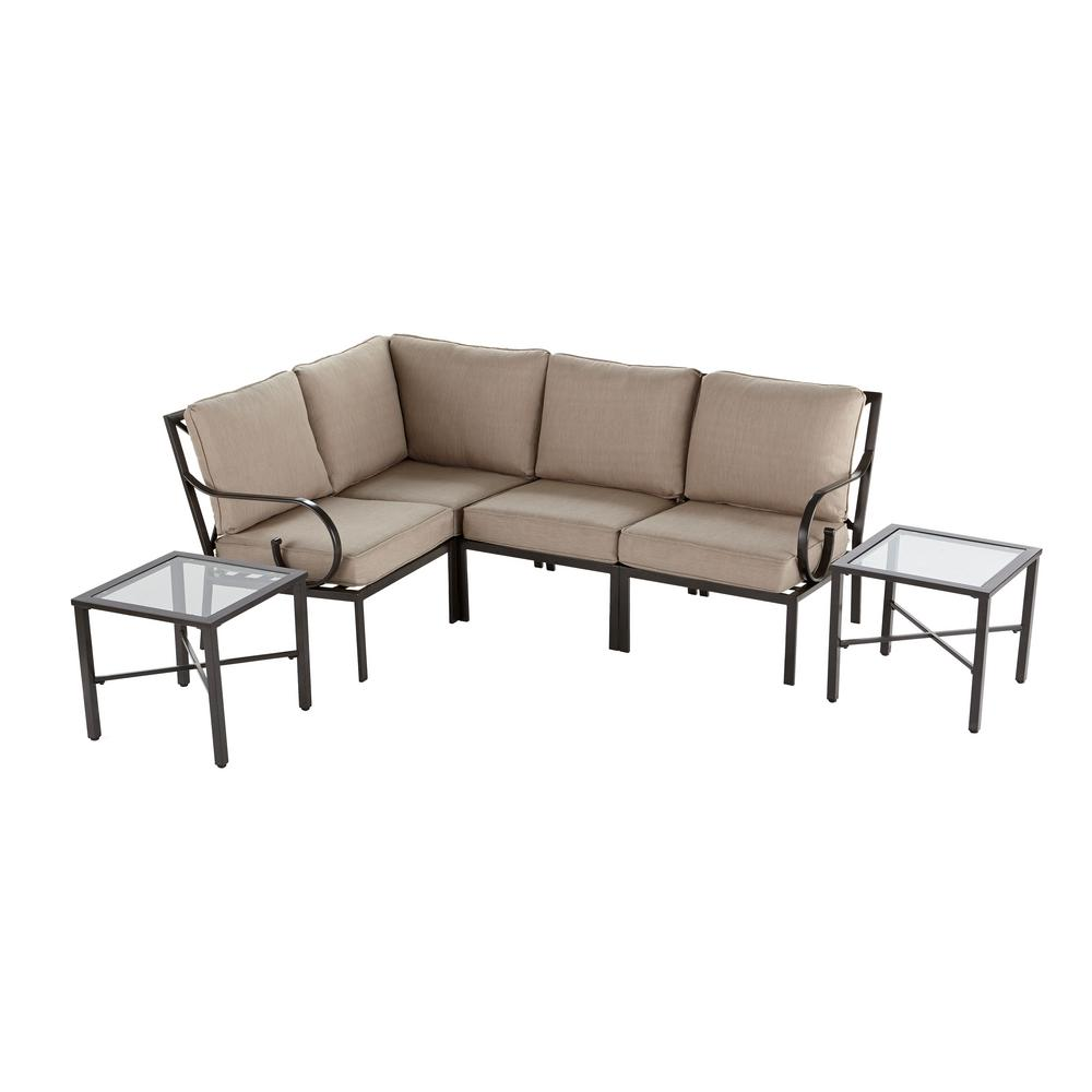 Granbury 6-Piece Metal Outdoor Sectional with Fossil Cushions