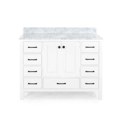 Lyndon 48 in. W x 22 in. D Bath Vanity with Carrara Marble Vanity Top in White with White Basin
