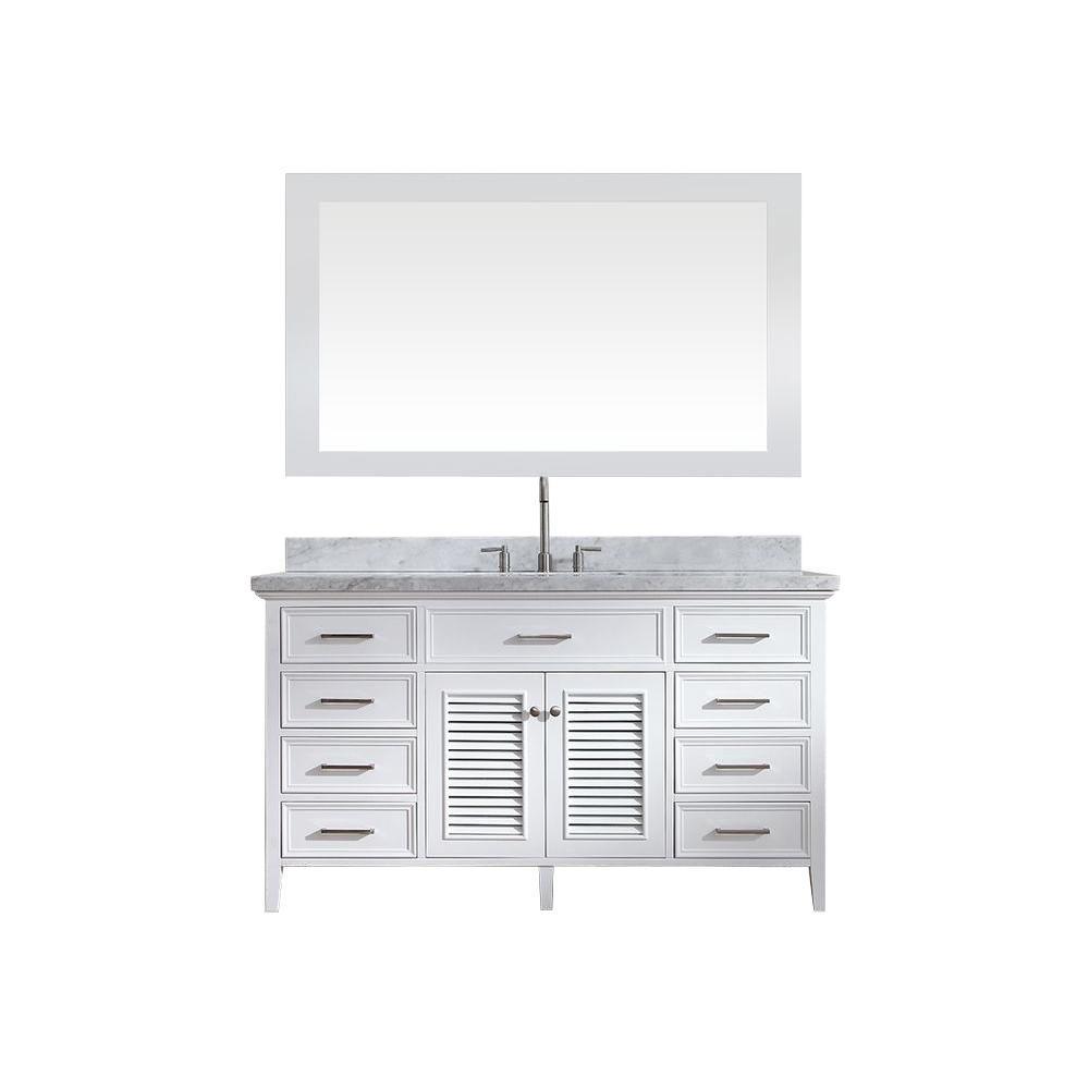 Ariel Kensington 61 in. Bath Vanity in White with Marble Vanity Top in Carrara White, Under-Mount Basin and Mirror