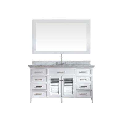 Kensington 61 in. Bath Vanity in White with Marble Vanity Top in Carrara White, Under-Mount Basin and Mirror