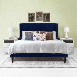 Sandy Wilson Home Clarice Wingback Navy Blue Accent Queen Bed S52190 ...