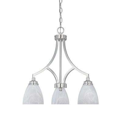 Manhattan 3-Light Satin Platinum Hanging Chandelier