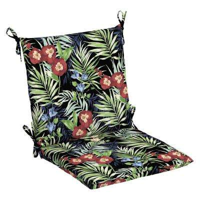 Black Tropical Outdoor Dining Chair Cushion
