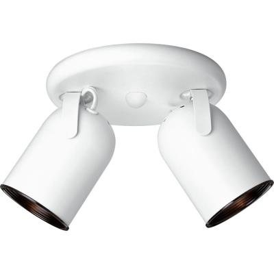 2-Light White Track Lighting Fixture