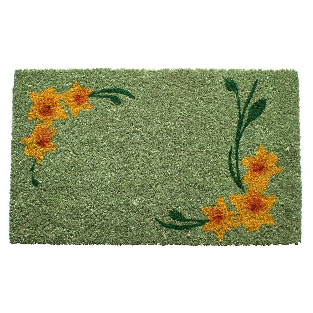 Entryways Daffodil Corners 17 in. x 28 in. Non Slip Coir Door Mat-DISCONTINUED