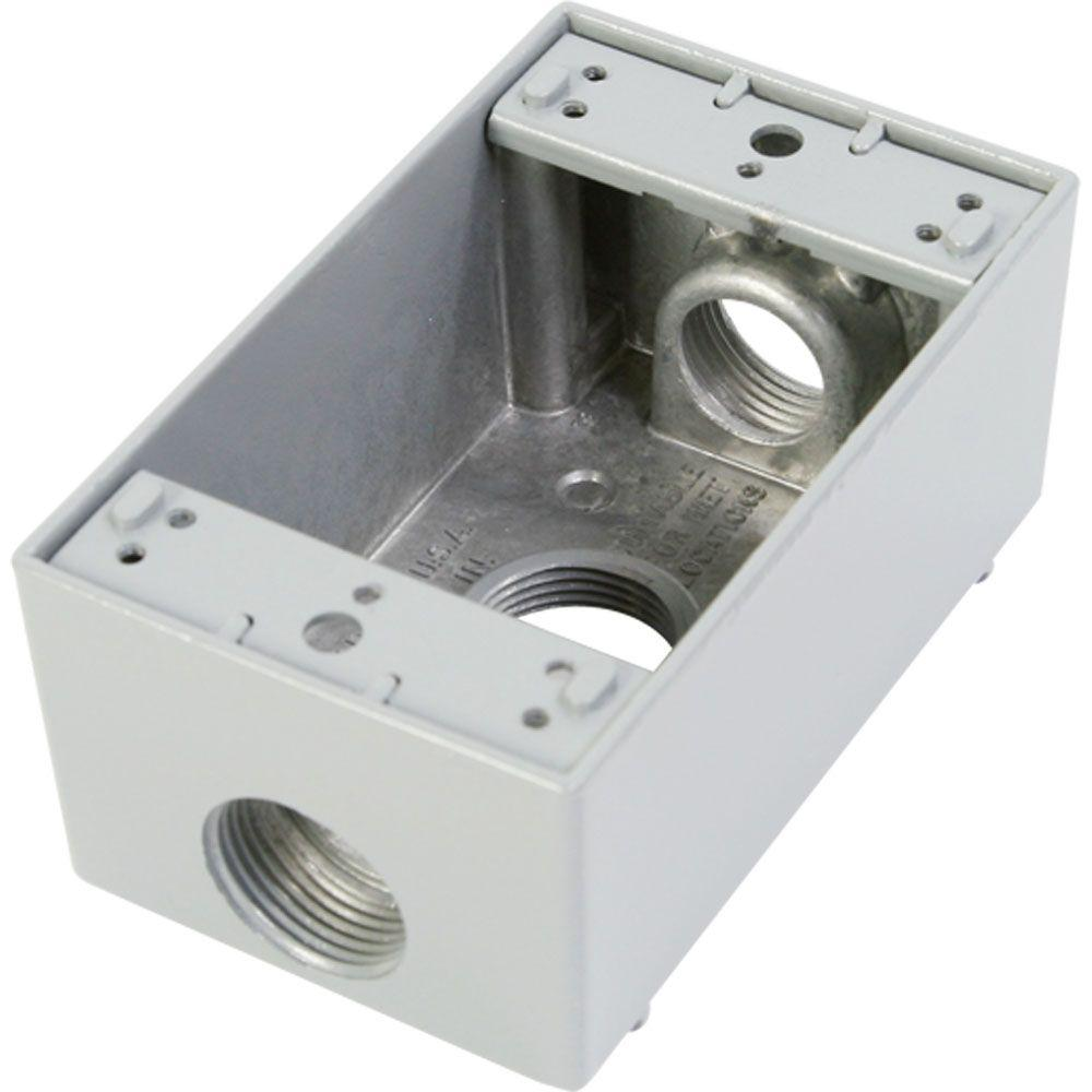 1 Gang Weatherproof Electrical Outlet Box with Three 3/4 in. Holes