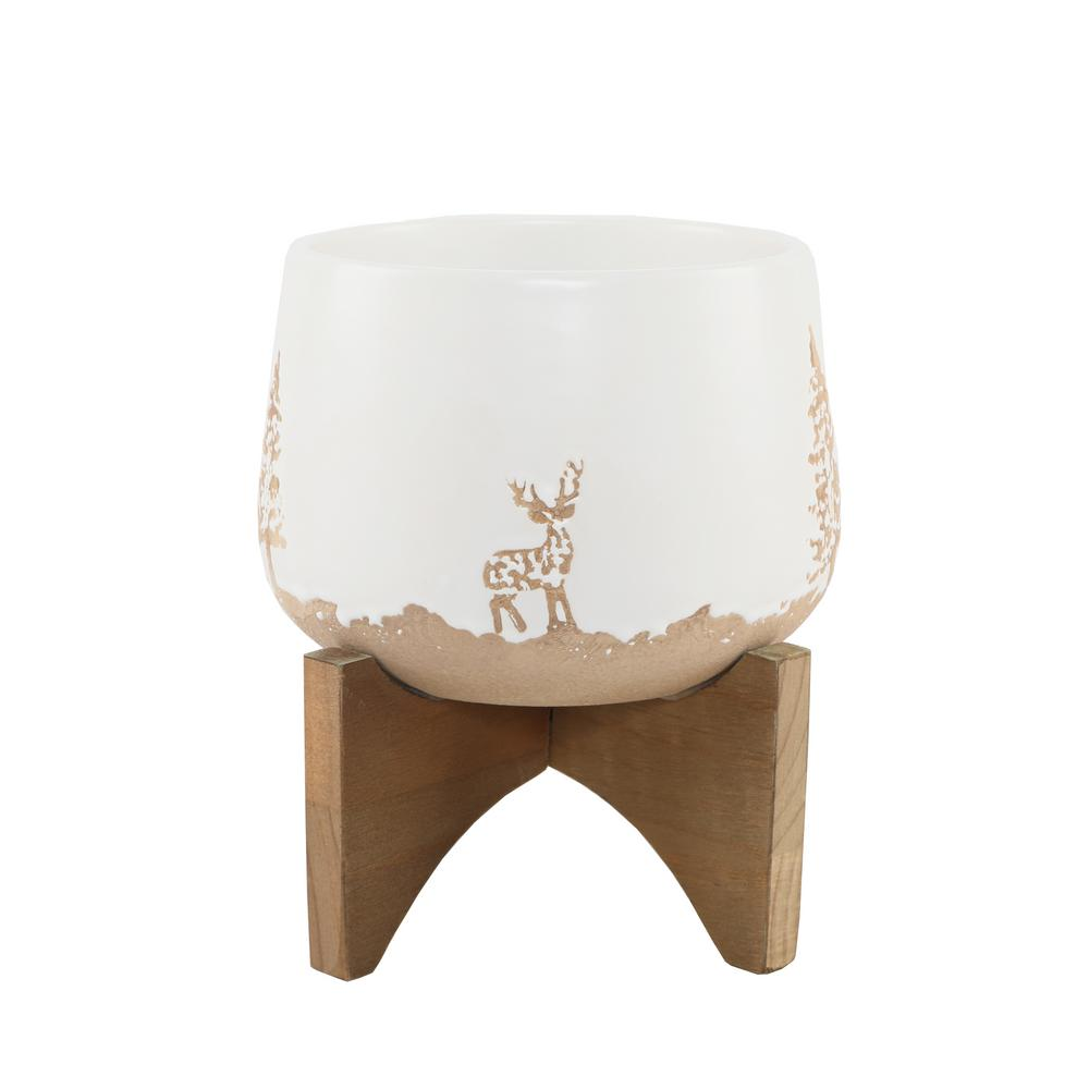 Flora Bunda 6 in. White Ceramic Christmas Trees and Deer Textured Planter on Wood Stand