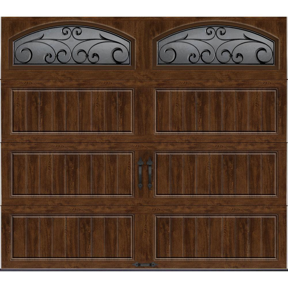 Clopay Gallery Collection 8 ft. x 7 ft. 6.5 R-Value Insulated Ultra-Grain Walnut Garage Door with Wrought Iron Window