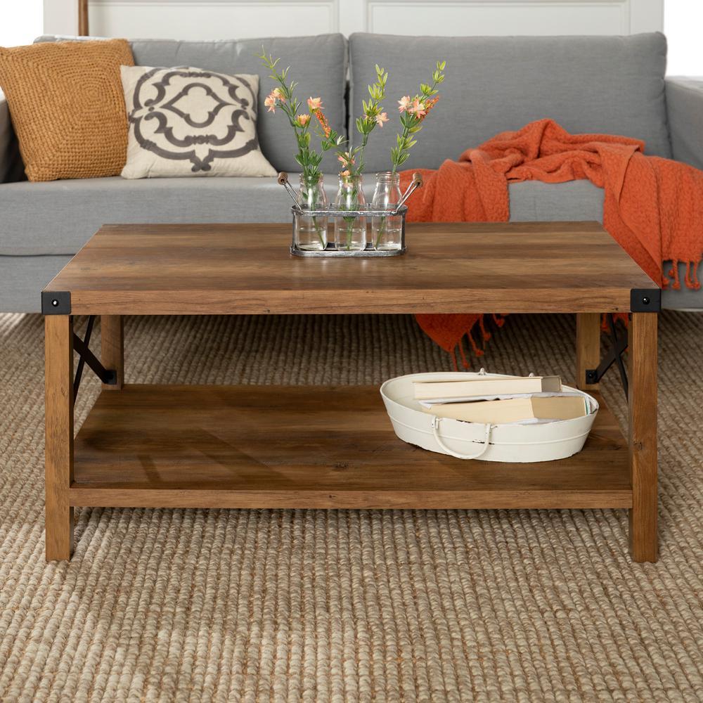 40 in. Rustic Oak and Black Rustic Urban Industrial Metal X Coffee Table