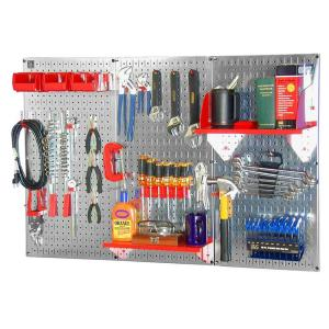 Wall Control 32 in. x 48 in. Metal Pegboard Standard Tool Storage Kit with Galvanized Pegboard and Red Peg Accessories-30WRK400GVR - The Home Depot