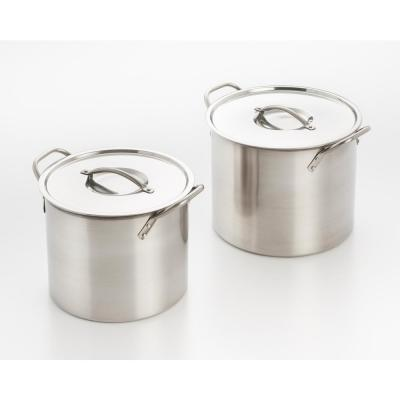 4-Piece 8 Qt. and 12 Qt. Stainless Steel Stock Pot Set with Stay Cool Handles and Lids