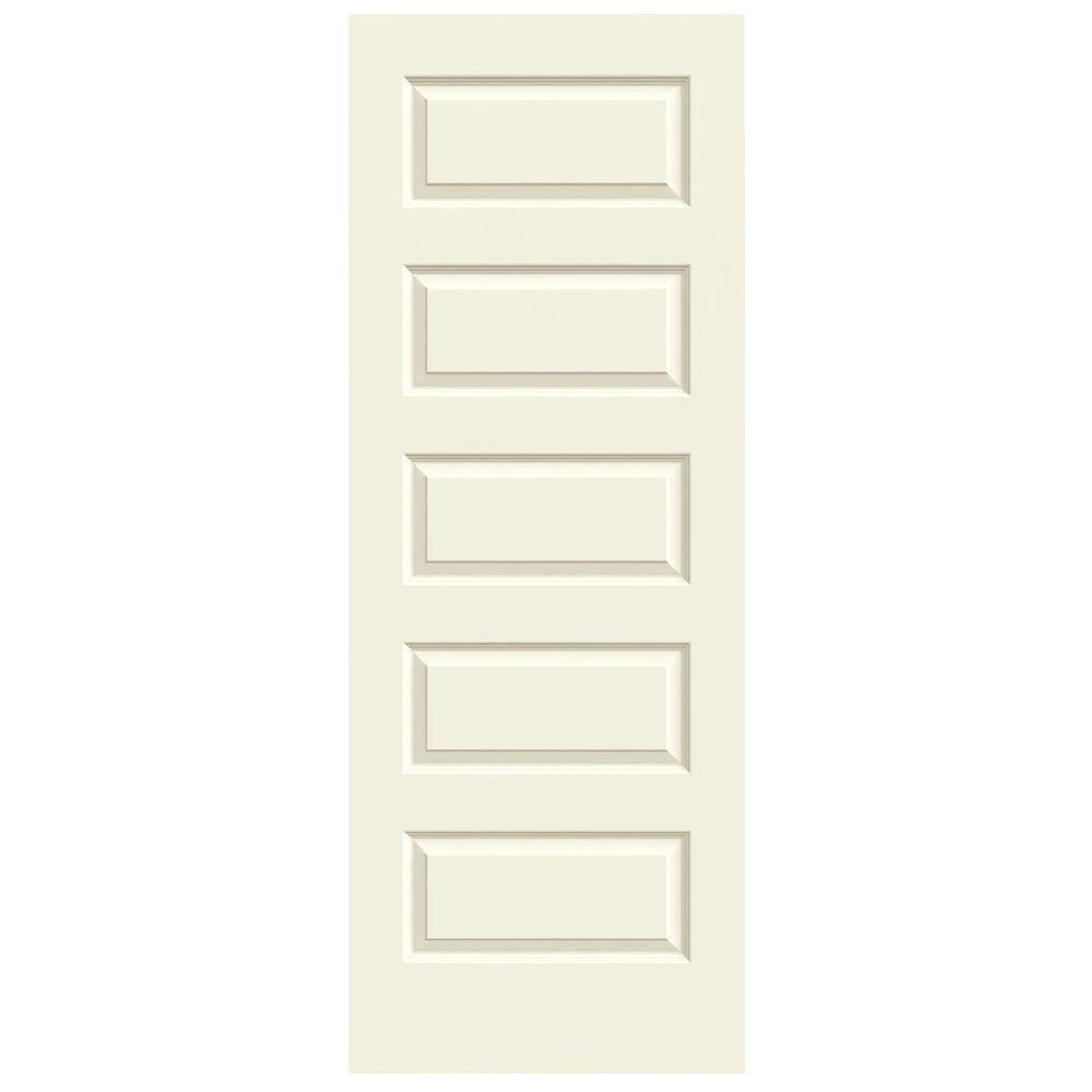 JELD-WEN 30 in. x 80 in. Rockport Vanilla Painted Smooth Molded Composite MDF Interior Door Slab