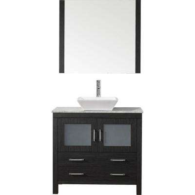 Dior 32 in. W x 18.3 in. D Vanity in Zebra Grey with Marble Vanity Top in Carrara White with White Basin and Mirror