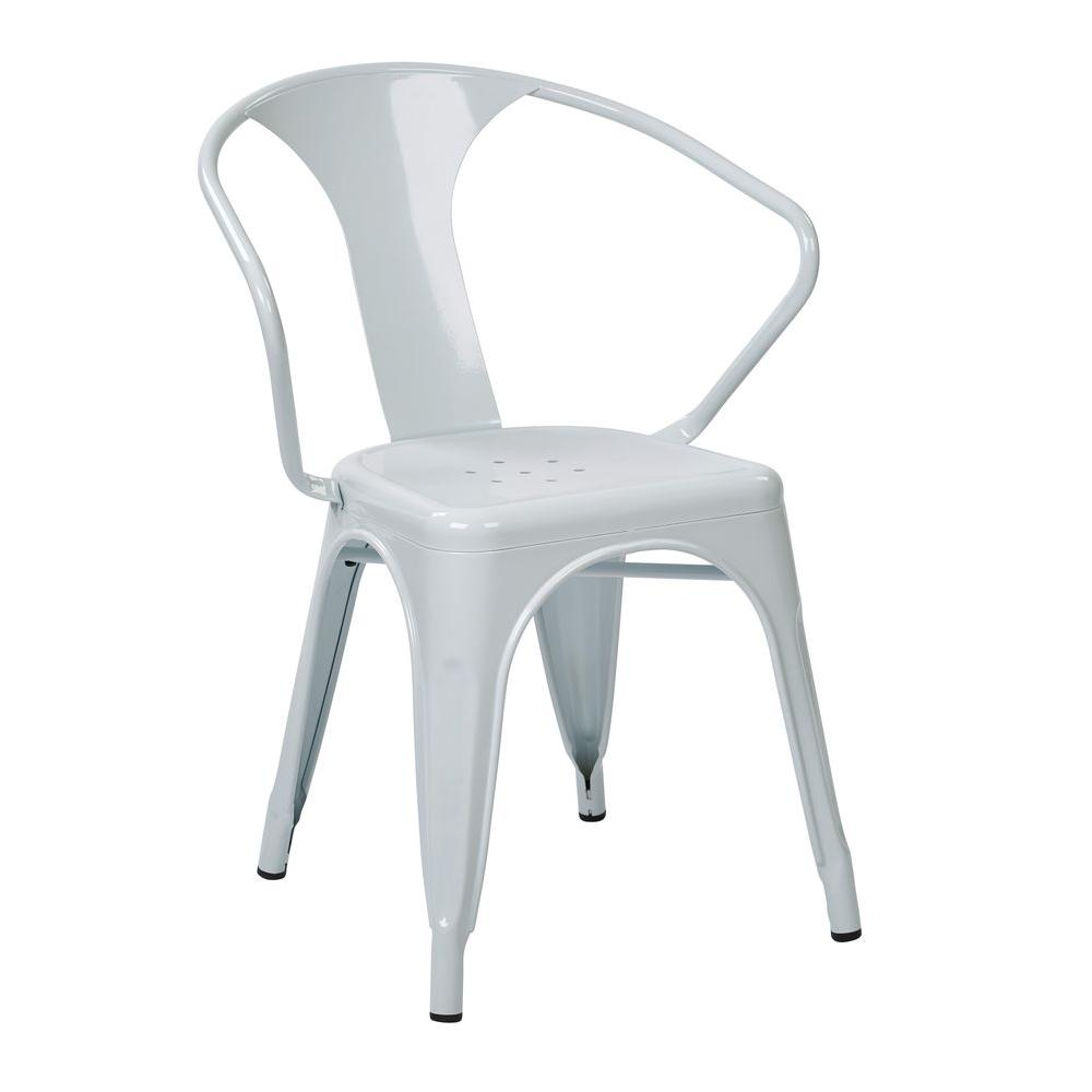 OSP Designs Patterson White Metal Arm Chair (Set Of 4)